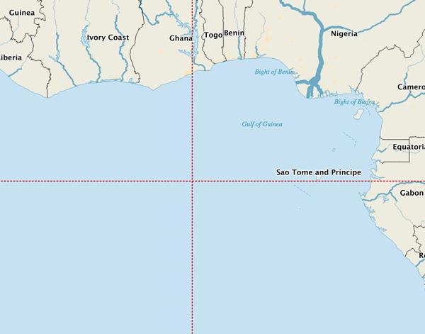 Peta Nol Derajat Lintang dan Nol Derajat Bujur