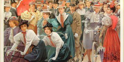Kelompok pengendara sepeda wanita, termasuk Princess Brancovan dan Duchesse Doudeauville, diterbitkan Vanity Fair 1897